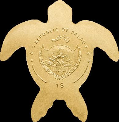 Palau - 2017 - 1 Dollar - Golden Sea Turtle small gold