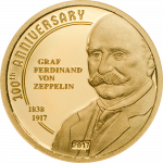 Cook Islands - 2017 - 5 Dollars - 100th Anniversary of Graf Zeppelin Small Gold