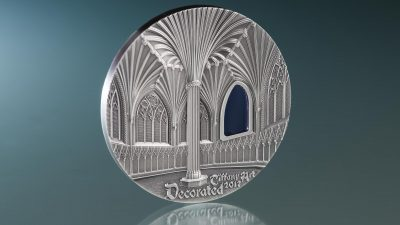 Palau - 2017 - 10 Dollars - Tiffany Art Wells Cathedral 2oz version