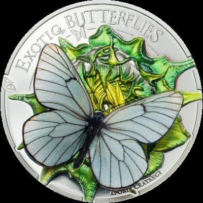Mongolia - 2017 - 500 Togrog - Butterflies in 3D BLACK-VEINED WHITE