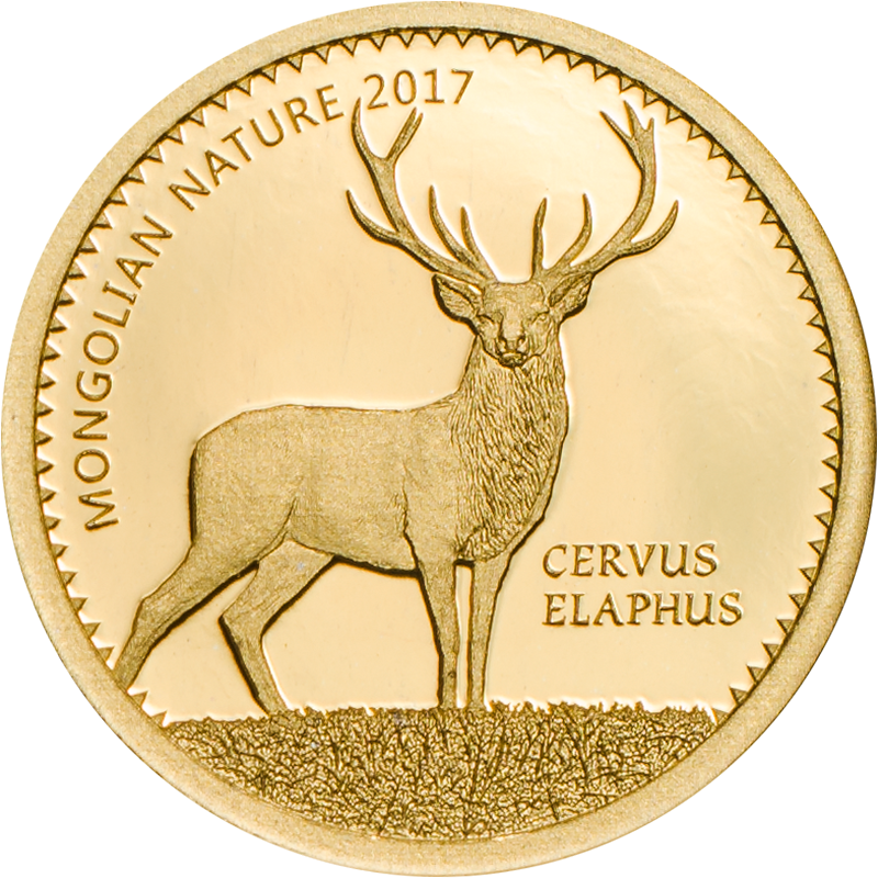 Mongolia - 2017 - 1000 Togrog - Red Deer Cervus elaphus small gold