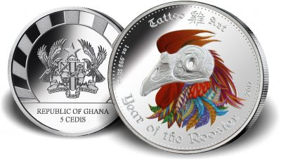 Ghana - 2017 - 5 Cedis - Tattoo Art Year of the Rooster