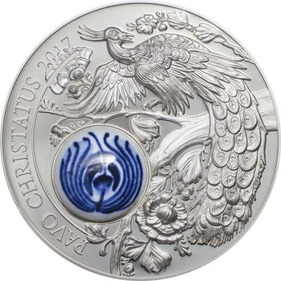 Cook Islands - 2017 - 10 Dollars - Royal Delft Peacock Pavo Christatus