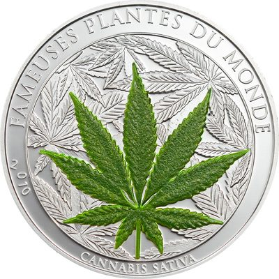 Benin - 2010 - 1000 Francs - Plants of the World CANABIS / MARIHUANA  Silver version (PROOF)