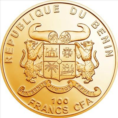 Benin - 2010 - 100 Francs - Plants of the World CANABIS / MARIHUANA  [gilded] (PROOF)