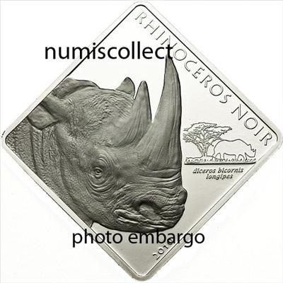 Cameroon - 2010 - 1500 Francs - Rare WildLife BLACK RHINO (PROOF)