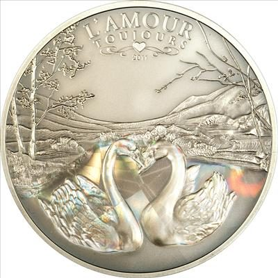 Cameroon - 2011 - 1000 Francs - L'Amour toujours Swans ANTIQUE (PROOF)