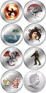 Cook Islands - 2009 - 7x 1 Dollar - 7 Mystical Creatures BOX SET [baba yaga, bigfoot, draco magnus, medusa, nessie, pegasus, phoenix] (PROOF)