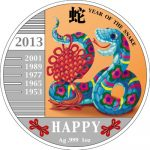 Congo - 2013 - 240 Francs - Year of the Snake HAPPY SNAKE (PROOF)