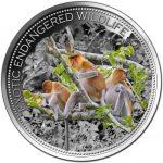 Fiji - 2015 - 10 Dollars - Exotic Endangered Wildlife PROBOSCIS MONKEY (ANTIQUE)