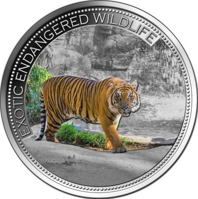 Fiji - 2016 - 10 Dollars - Exotic Endangered Wildlife MALAYAN TIGER (PROOF)