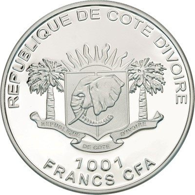 Ivory Coast - 2013 - 1001 Francs - God Lord Ganesha (PROOF)