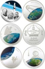 Mongolia - 2007 - 5x 500 Togrog - 50th Anniversary Russian Space Age (set 5 coins) (PROOF)