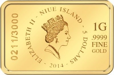 Niue - 2014 - 5 Dollars - Brilliant Baby Bar ELEPHANT (BU)