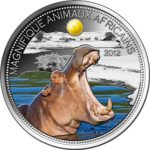Niger - 2012 - 1000 Francs - Hippo with citrin insert (PROOF)