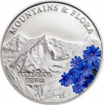 Palau - 2014 - 5 Dollars - Mountains & Flora MOUNT ANNAPURNA (including box) (PROOF)