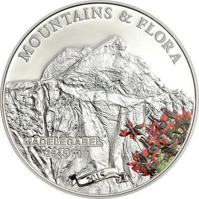 Palau - 2015 - 5 Dollars - Mountains and Flora MÄDELEGABEL (including box) (PROOF)