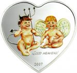 Palau - 2007 - 5 Dollars - Angel & Devil Heart Shaped (PROOF)