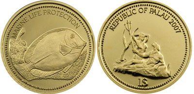 Palau - 2007 - 1 Dollar - Surgeonfish (marine life protection) 1/25oz GOLD (PROOF)