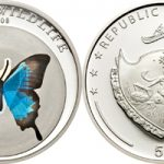 Palau - 2008 - 5 Dollars - Blue Butterfly Papilio pericles (PROOF)