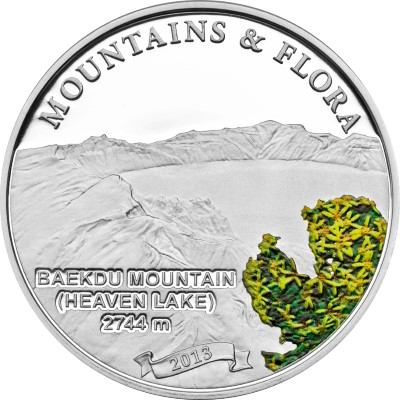 Palau - 2013 - 5 dollar - Mountains & Flora BAEKDU MOUTAIN (including box) (PROOF)