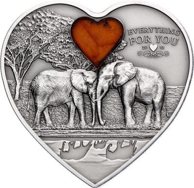 Palau - 2013 - 5 Dollars - Elephants Heart with Amber (including box) (ANTIQUE)