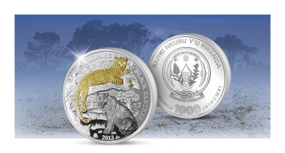 Rwanda - 2013 - 1000 Francs - Wildlife with Diamonds LEOPARD & BLACK PANTHER 3oz Silver (PROOF)