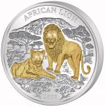 Rwanda - 2008 - 1000 Francs - Lions (with 4 diamond eyes, 3oz silver) (PROOF)