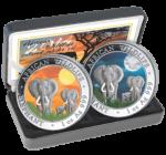 Somalia - 2014 - 2x100 Schilling - Elephant Day & Night  (BU)