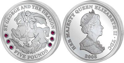 Tristan da Cunha - 2008 - 5 Pounds - St Georg & Dragon (with 6 rubins) (PROOF)