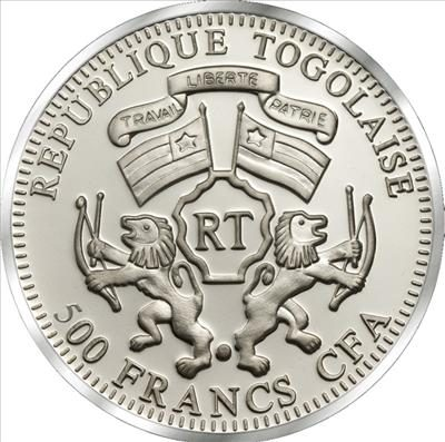 Togo - 2011 - 500 Francs - She-Warriors JEANNE d'ARC (PROOF)