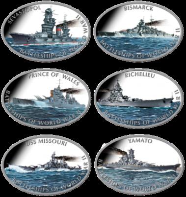 Tokelau - 2013 - 6x1 Dollar - Battleships of World War II (PROOF)