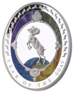 Tokelau - 2015 - 2 Dollars - Year of the Goat OVAL SHAPED  (PROOF)