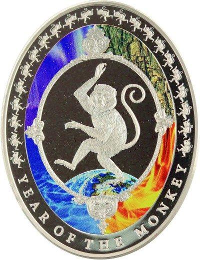 Tokelau - 2016 - 2 Dollar - Year of the Monkey OVAL SHAPED (PROOF)
