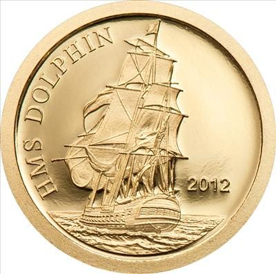 Tokelau - 2012 - 5 Dollars - HMS Dolphin (small gold) (PROOF)