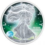 USA - 2015 - 1 Dollar - Frozen Walking Liberty Aurora Rhodium 1 oz  (BU)