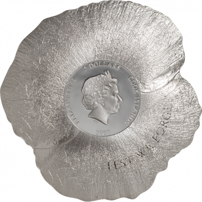 Cook Islands - 2017 - 5 Dollars - Remembrance Poppy Shaped Coin