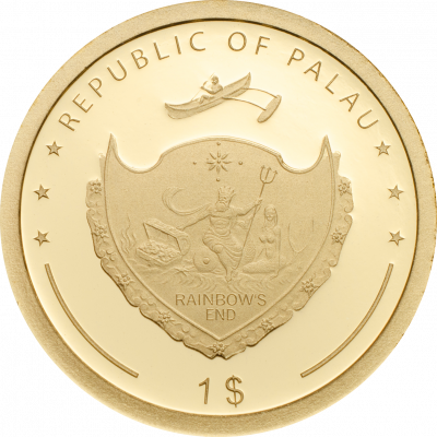 Palau - 2018 - 1 Dollar - Four Leaf Clover in Gold