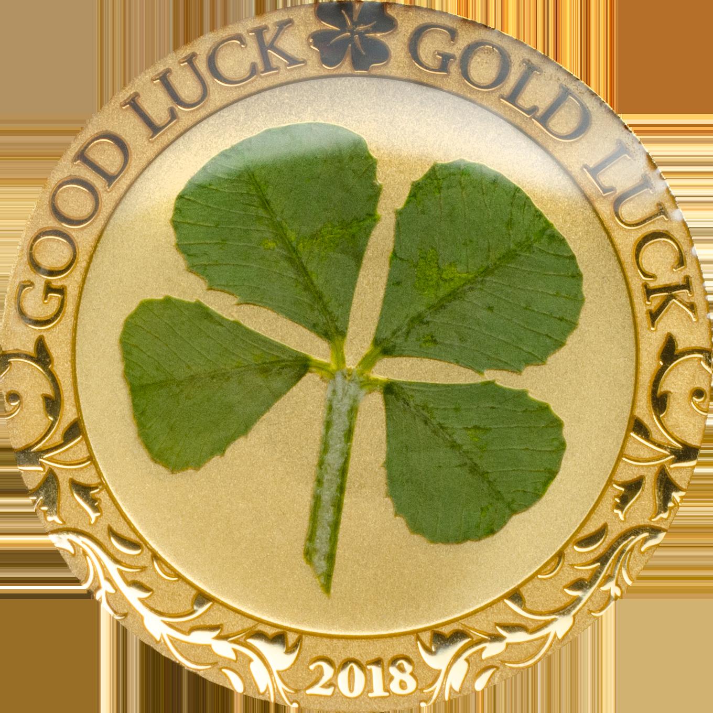 Palau - 2018 - 1 Dollar - Four Leaf Clover in Gold