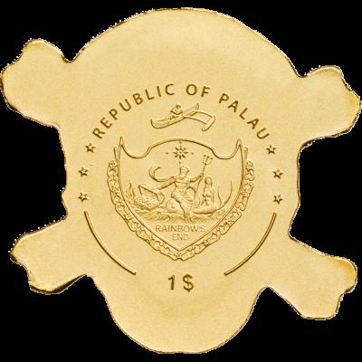 Palau - 2017 - 1 Dollar - Golden Pirate Skull