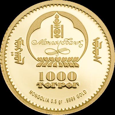 Mongolia - 2017 - 1000 Togrog - Evolution of Life ICHTHYOSAUR small gold