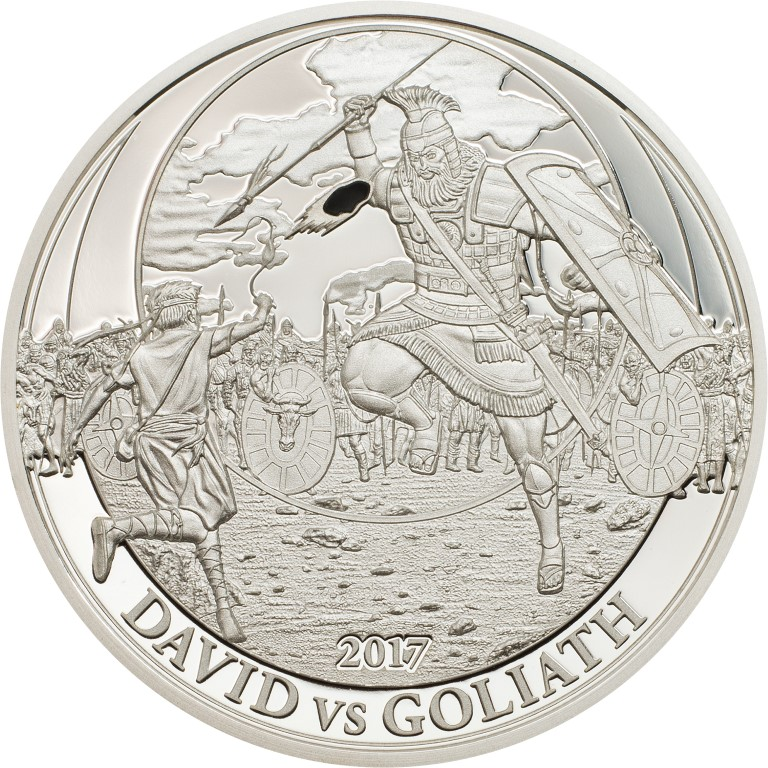 Palau - 2017 - 2 Dollars - Biblical Stories DAVID vs GOLIATH