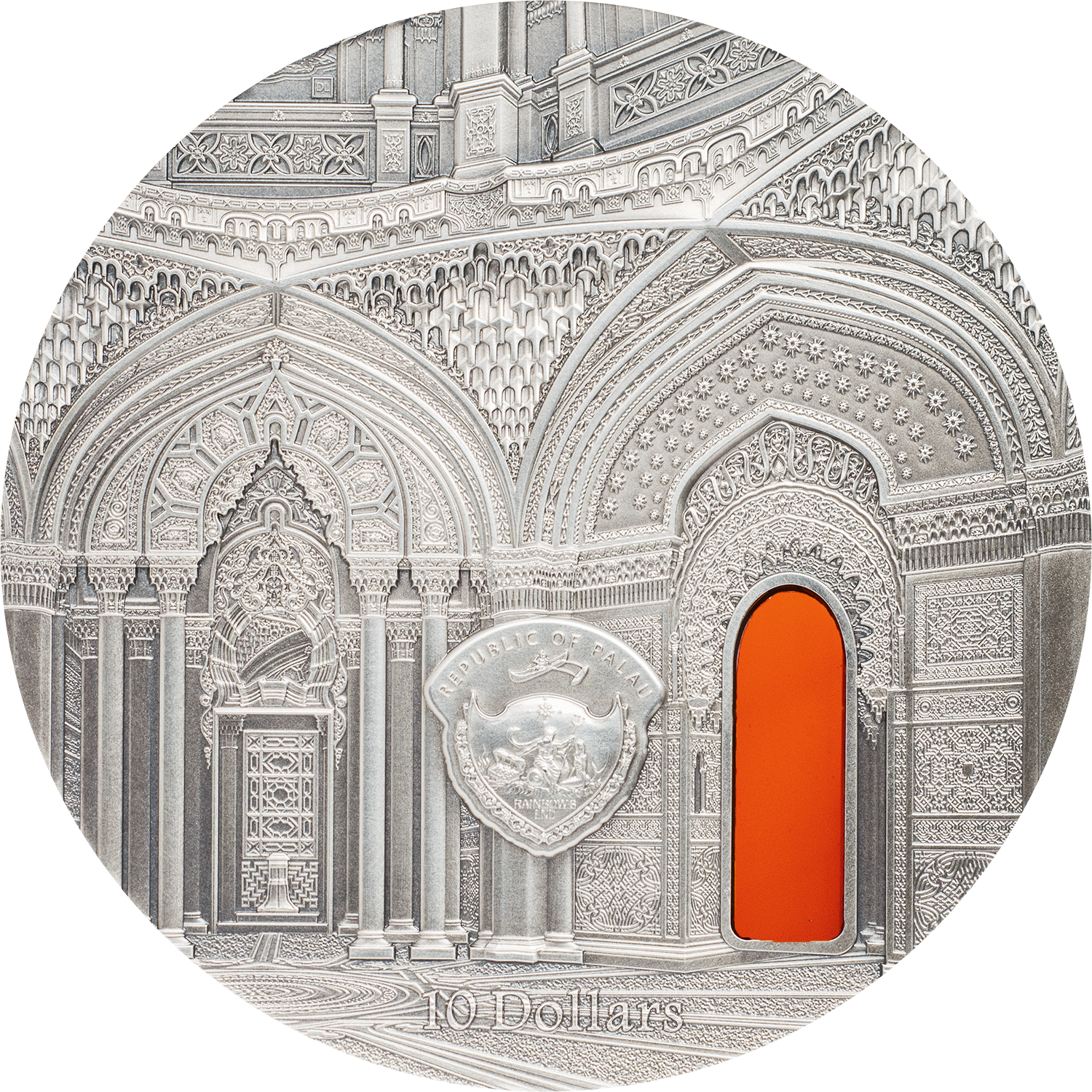 Palau - 2018 - 10 Dollars - Tiffany Art Castle of Sammezzano 2oz Version