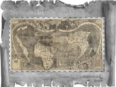 Cook Islands - 2018 - 5 Dollars - Waldseemüller – Historical Maps