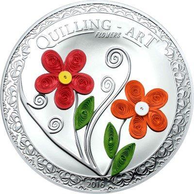 Cook Islands - 2016 - 2 Dollars - Quilling Art Flowers (PAPER ART) incl box (PROOF)