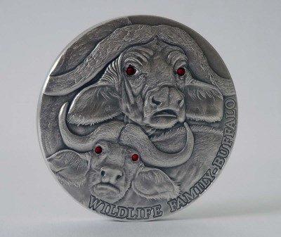 Niue - 2014 - 10 Dollars - Wildlife Family BUFFALO 4oz (including box) (ANTIQUE)