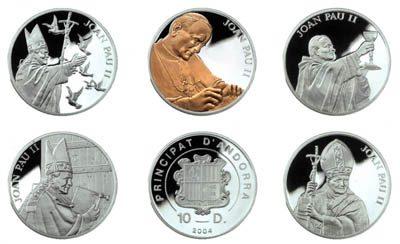 Andorra - 2004 - 5x 10 Dinars - Pope JPII SET (PROOF)