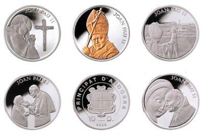 Andorra - 2005 - 5x 10 Dinars - Pope JPII SET (PROOF)