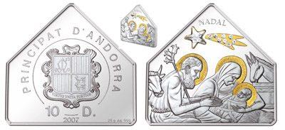 Andorra - 2007 - 10 Dinars - Christmas Nadal (PROOF)