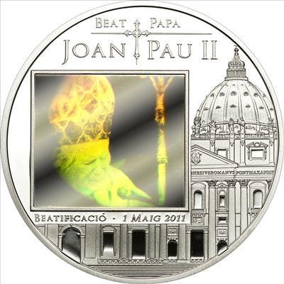 Andorra - 2011 - 5 Dinars - Beatification of John Paul II (PROOF)